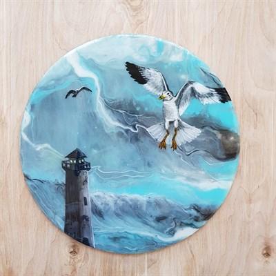 """Картина смолой """"Маяк и чайка"""" - фото 5201"""