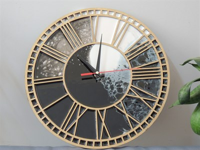 """Часы """"Черный мрамор"""" римские цифры D30cm - фото 5241"""